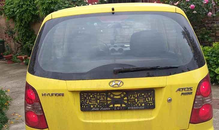 Žuti hundai automobil fotografija sa zadnje stranice